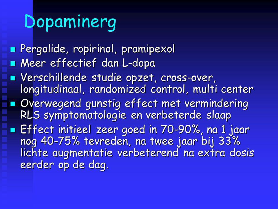 Dopaminerg Pergolide, ropirinol, pramipexol Meer effectief dan L-dopa