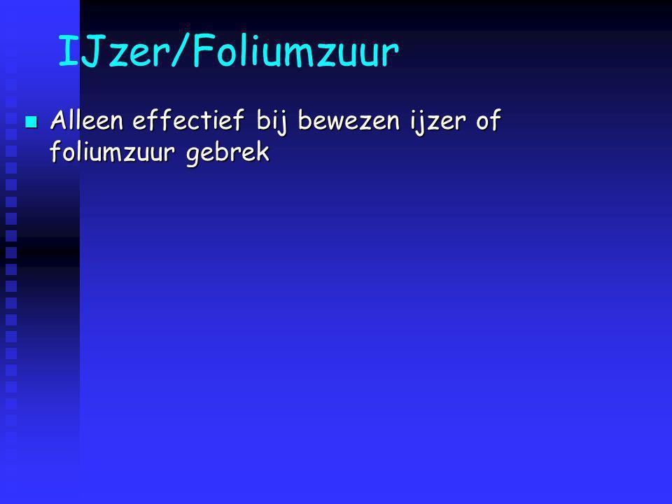 IJzer/Foliumzuur Alleen effectief bij bewezen ijzer of foliumzuur gebrek