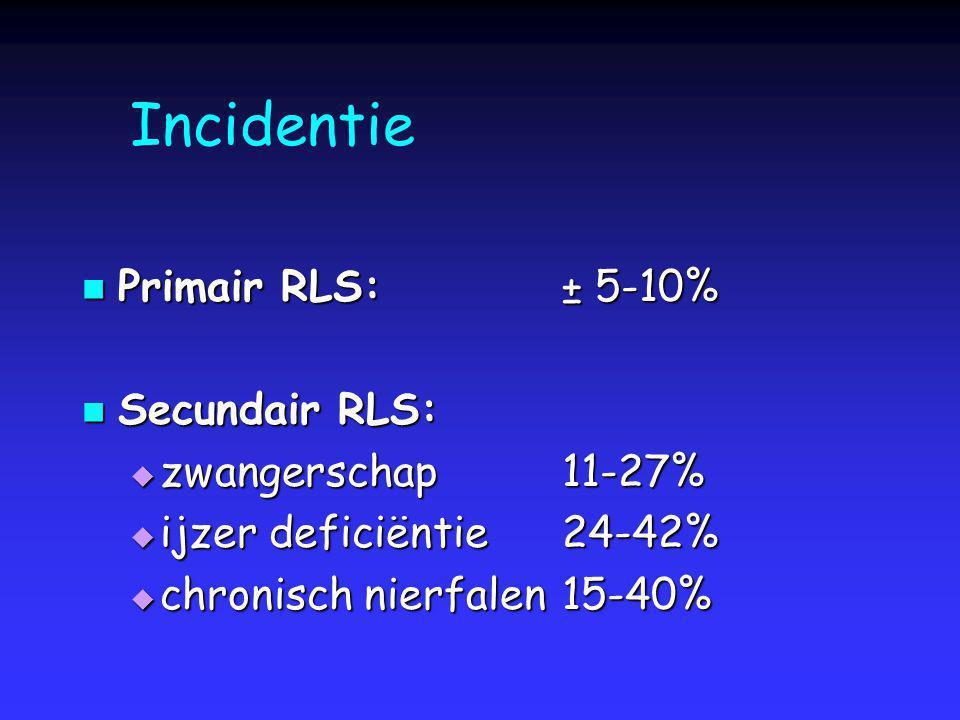 Incidentie Primair RLS: ± 5-10% Secundair RLS: zwangerschap 11-27%