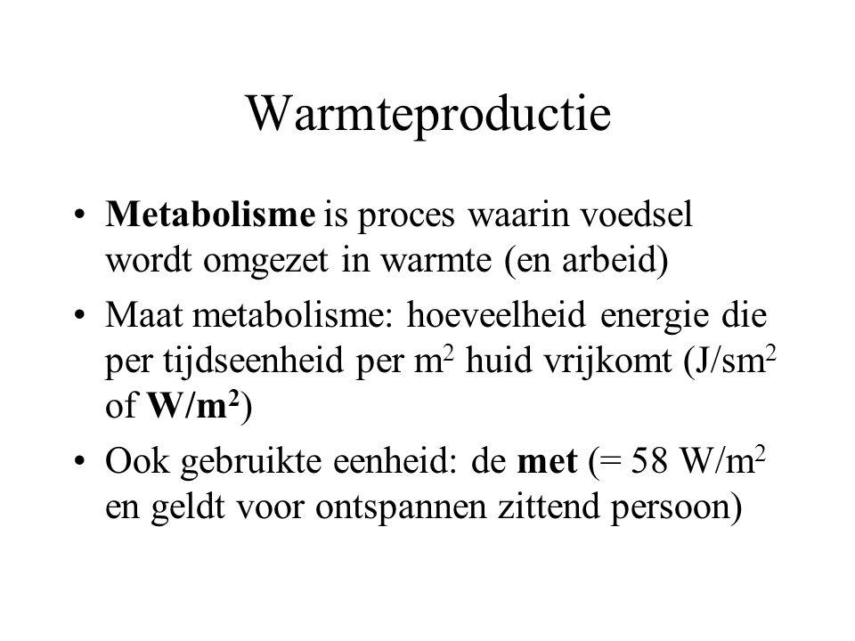 Warmteproductie Metabolisme is proces waarin voedsel wordt omgezet in warmte (en arbeid)
