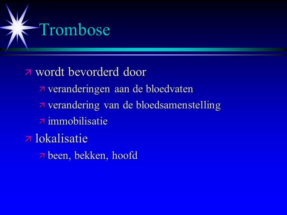 Trombose wordt bevorderd door lokalisatie