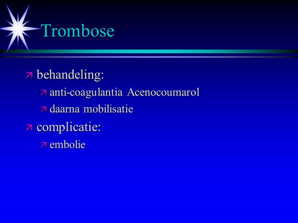 Trombose behandeling: complicatie: anti-coagulantia Acenocoumarol