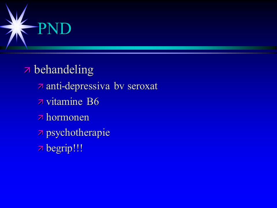 PND behandeling anti-depressiva bv seroxat vitamine B6 hormonen