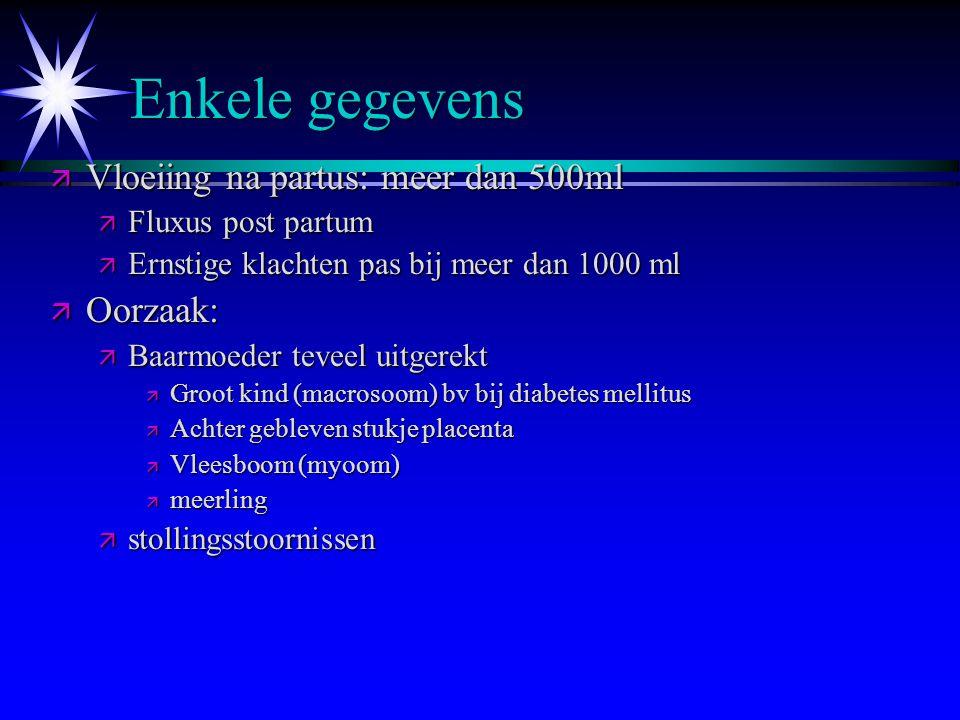 Enkele gegevens Vloeiing na partus: meer dan 500ml Oorzaak: