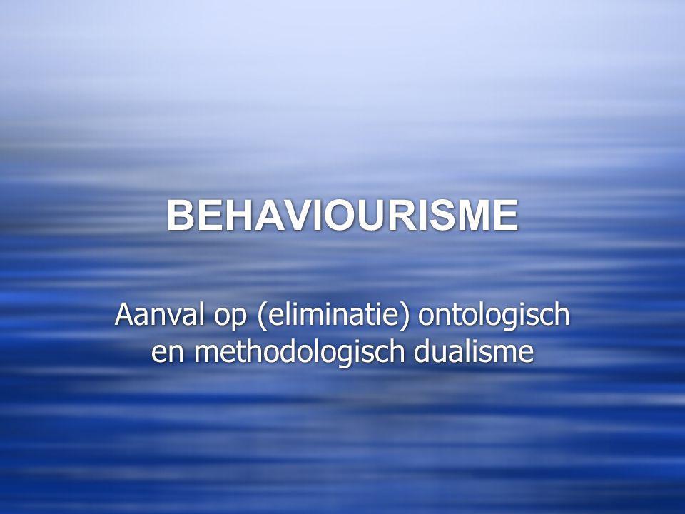 Aanval op (eliminatie) ontologisch en methodologisch dualisme