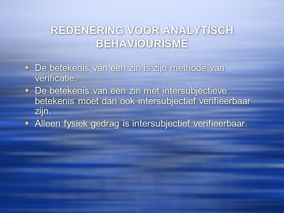 REDENERING VOOR ANALYTISCH BEHAVIOURISME