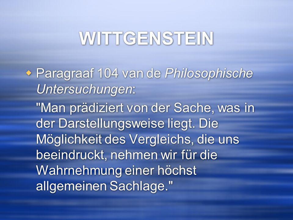 WITTGENSTEIN Paragraaf 104 van de Philosophische Untersuchungen: