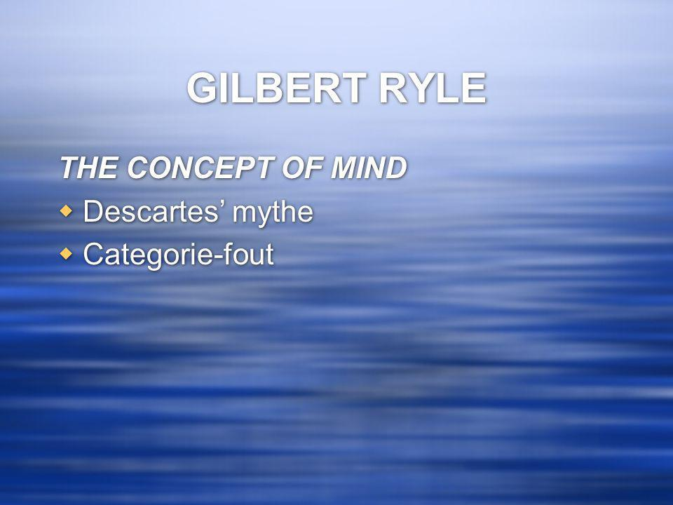 GILBERT RYLE THE CONCEPT OF MIND Descartes' mythe Categorie-fout