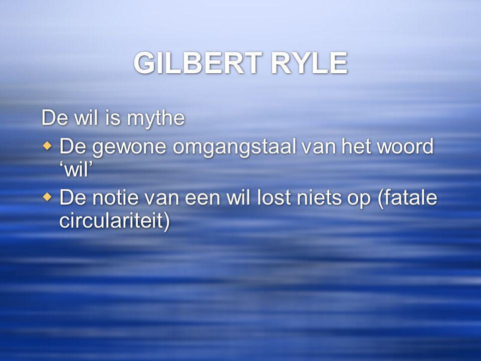 GILBERT RYLE De wil is mythe De gewone omgangstaal van het woord 'wil'
