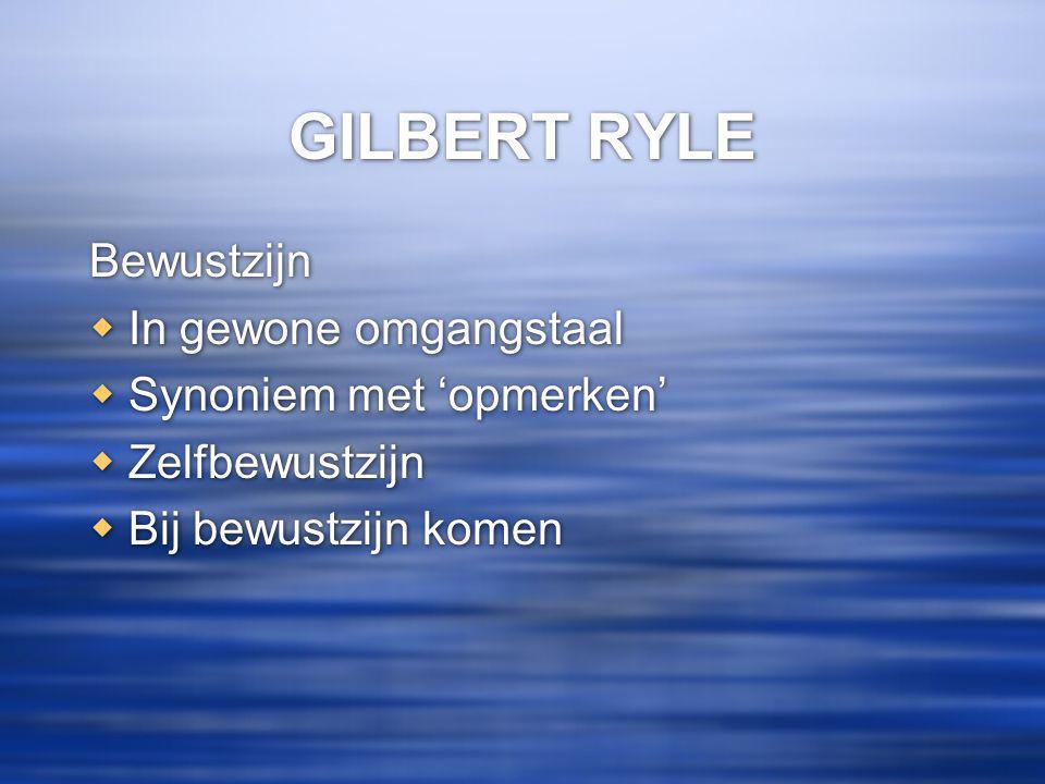 GILBERT RYLE Bewustzijn In gewone omgangstaal Synoniem met 'opmerken'
