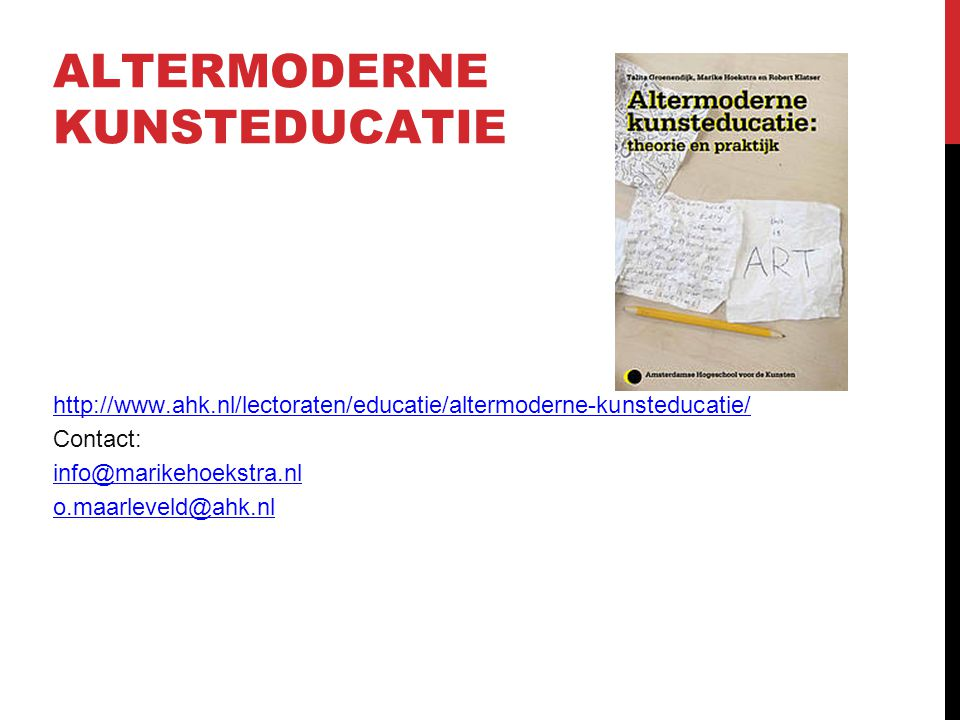 ALTERMODERNE KUNSTEDUCATIE