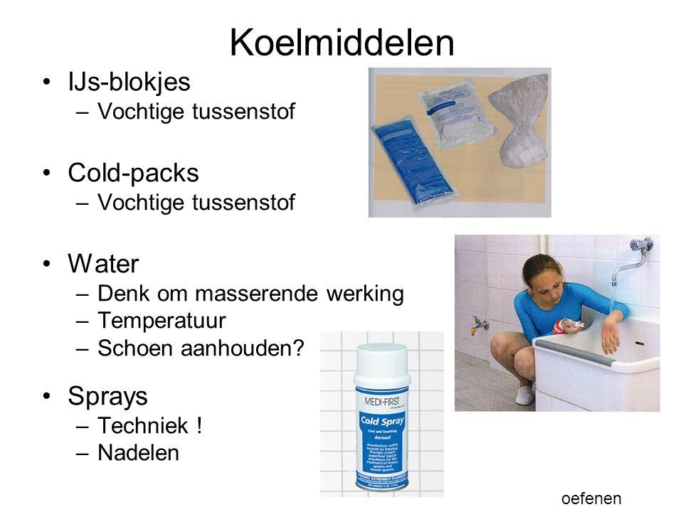 Koelmiddelen IJs-blokjes Cold-packs Water Sprays Vochtige tussenstof