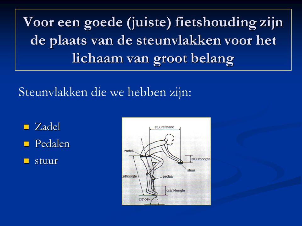 Voor een goede (juiste) fietshouding zijn de plaats van de steunvlakken voor het lichaam van groot belang