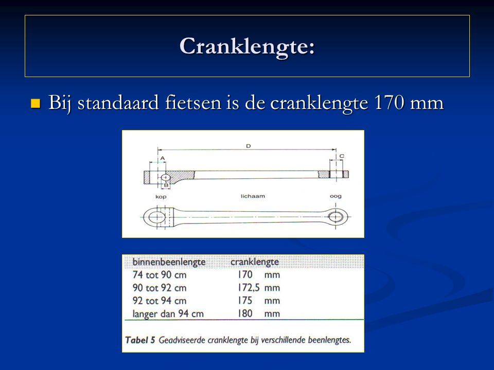 Cranklengte: Bij standaard fietsen is de cranklengte 170 mm