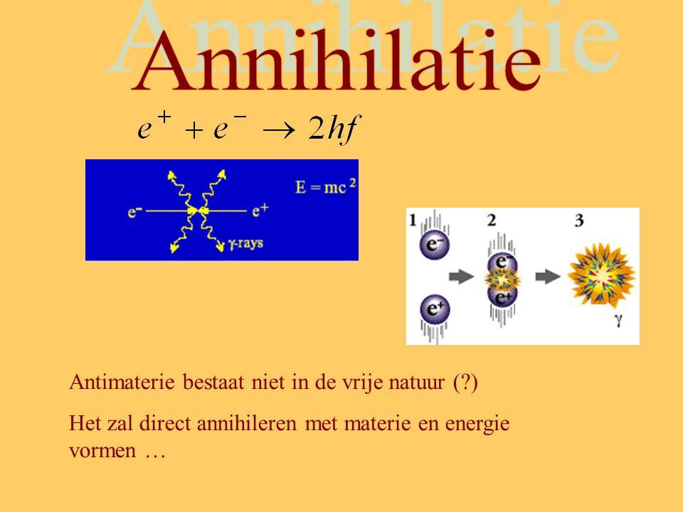 Annihilatie Antimaterie bestaat niet in de vrije natuur ( )