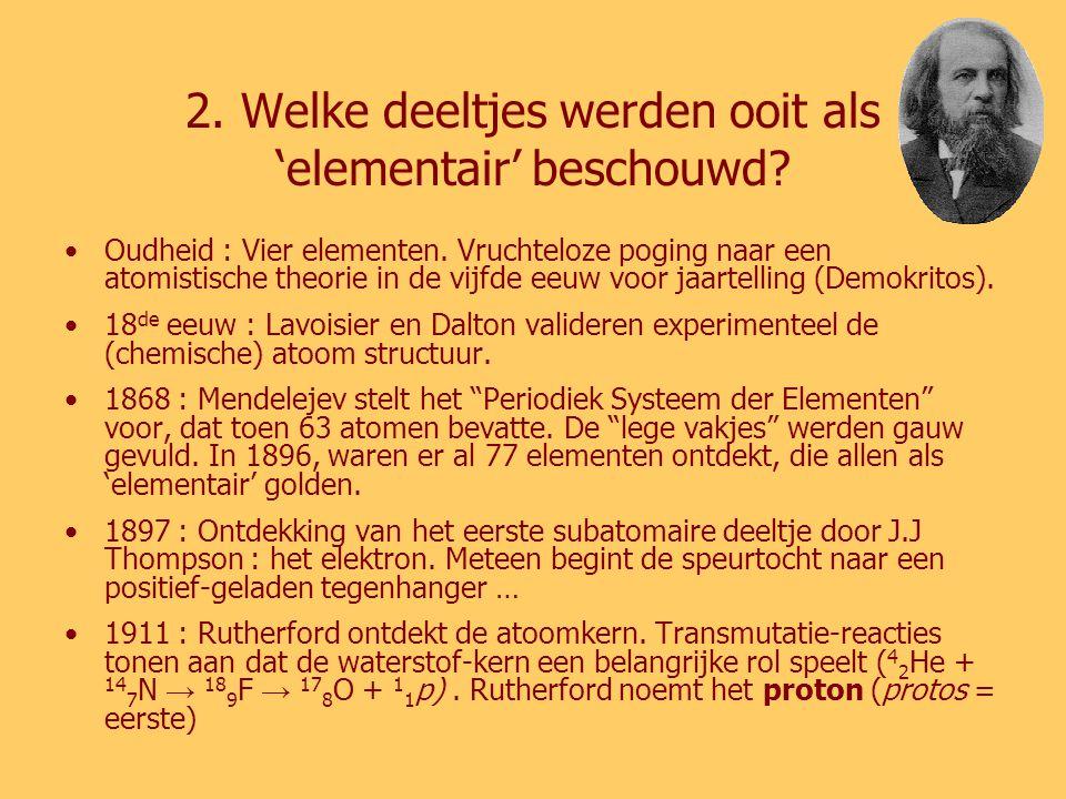 2. Welke deeltjes werden ooit als 'elementair' beschouwd