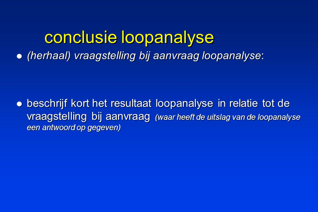 conclusie loopanalyse