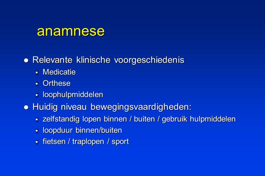anamnese Relevante klinische voorgeschiedenis