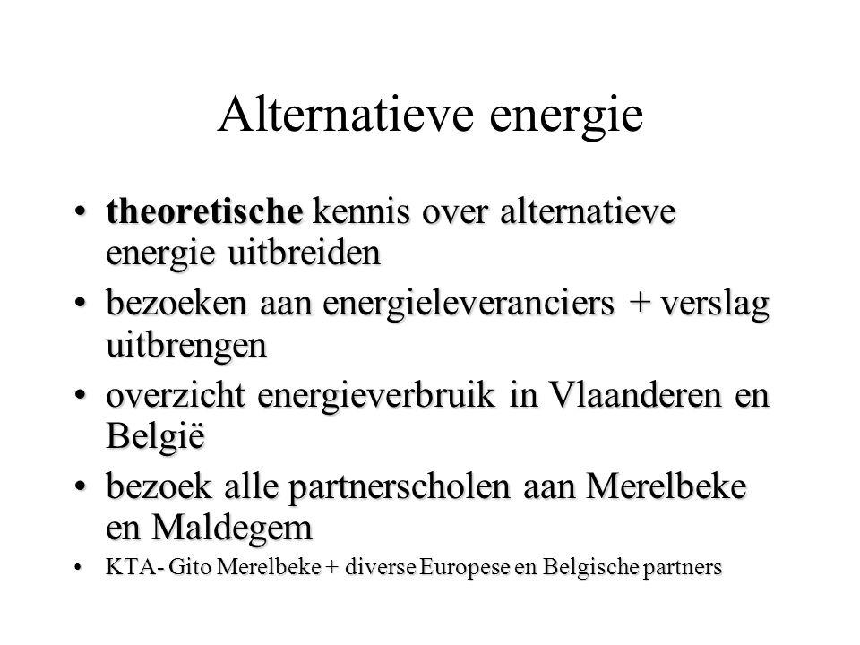 Alternatieve energie theoretische kennis over alternatieve energie uitbreiden. bezoeken aan energieleveranciers + verslag uitbrengen.