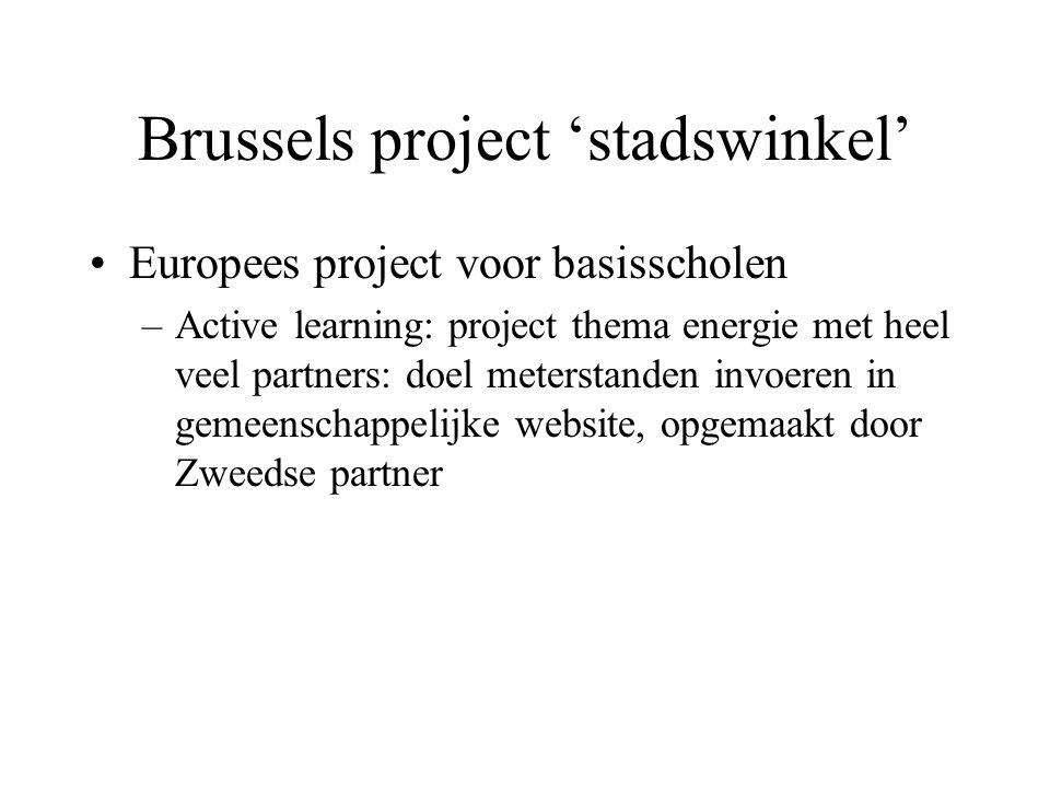 Brussels project 'stadswinkel'