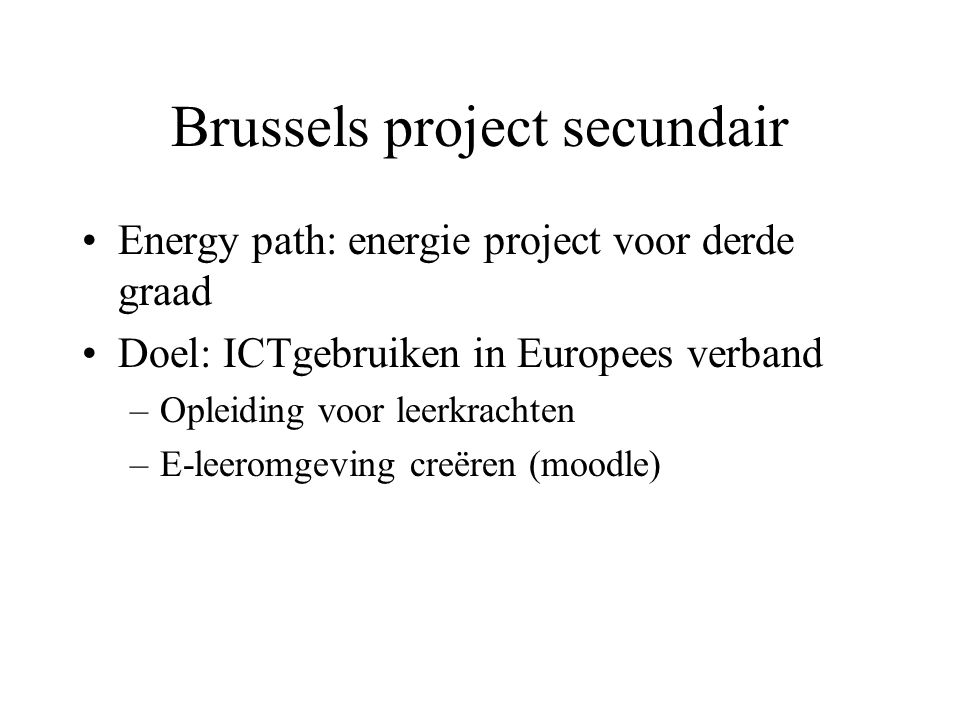 Brussels project secundair
