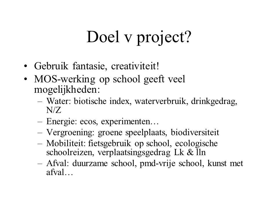 Doel v project Gebruik fantasie, creativiteit!