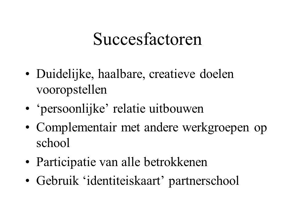Succesfactoren Duidelijke, haalbare, creatieve doelen vooropstellen