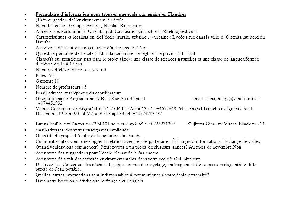 Formulaire d'information pour trouver une école partenaire en Flandres