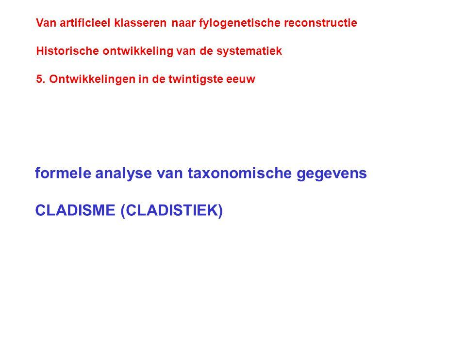 formele analyse van taxonomische gegevens CLADISME (CLADISTIEK)