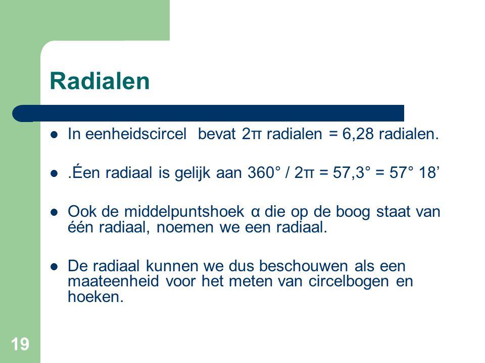 Radialen In eenheidscircel bevat 2π radialen = 6,28 radialen.