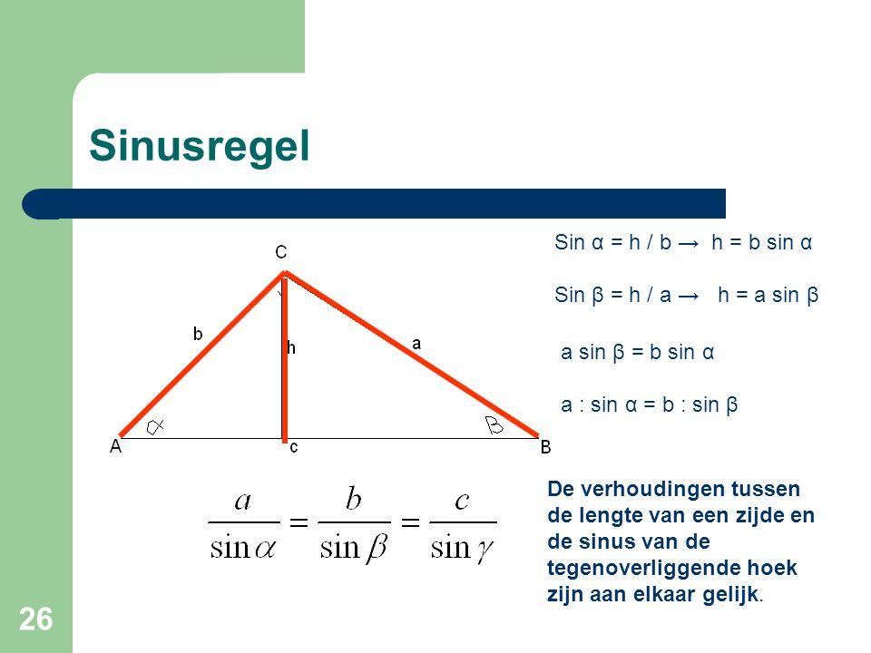 Sinusregel Sin α = h / b → h = b sin α Sin β = h / a → h = a sin β