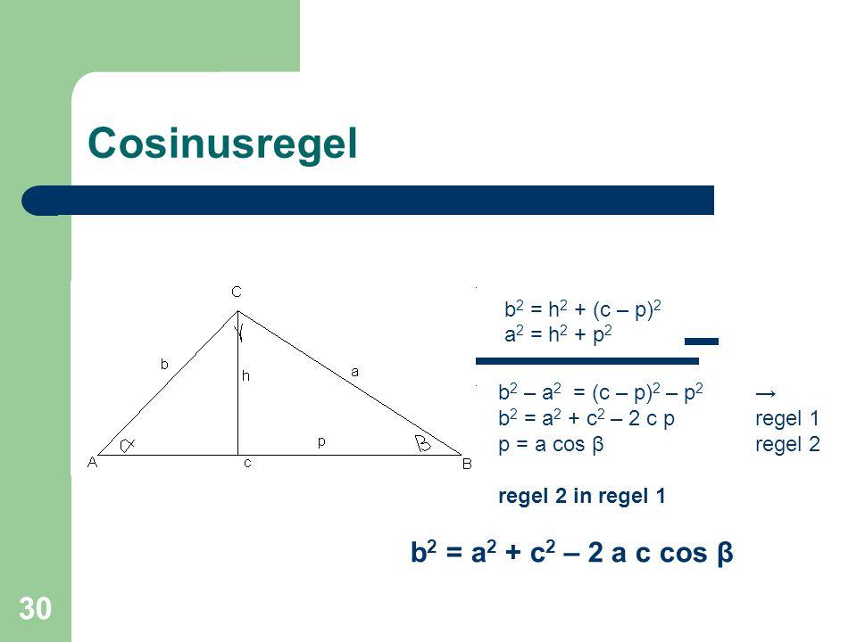 Cosinusregel b2 = a2 + c2 – 2 a c cos β a2 = h2 + p2