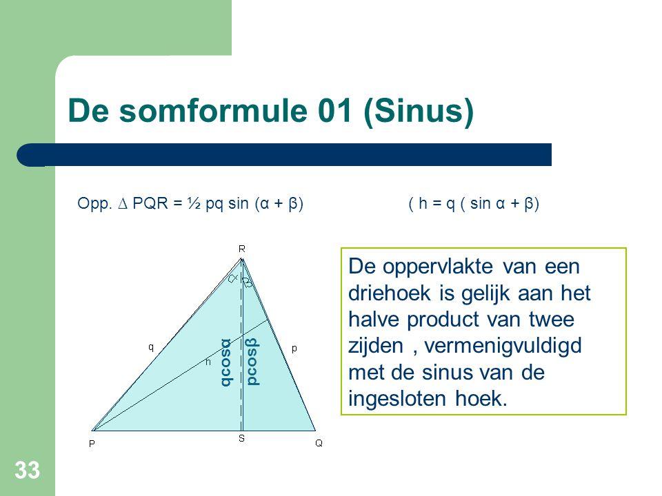 De somformule 01 (Sinus) Opp. ∆ PQR = ½ pq sin (α + β) ( h = q ( sin α + β)