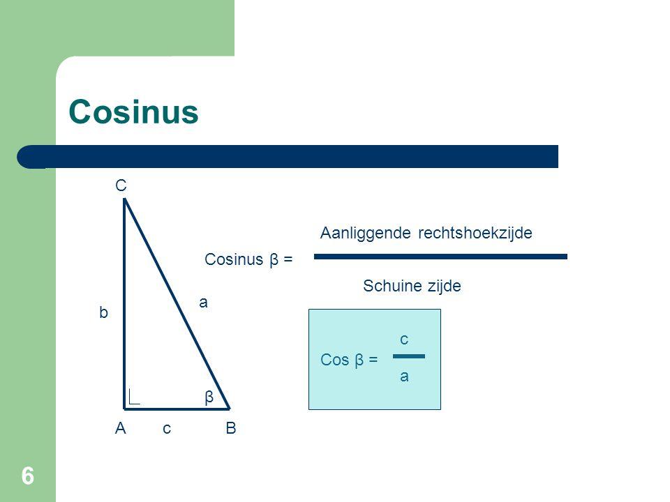 Cosinus C Aanliggende rechtshoekzijde Cosinus β = Schuine zijde a b c