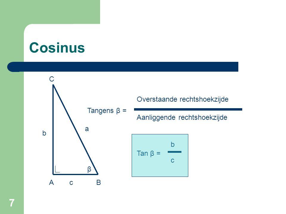 Cosinus C Overstaande rechtshoekzijde Tangens β =