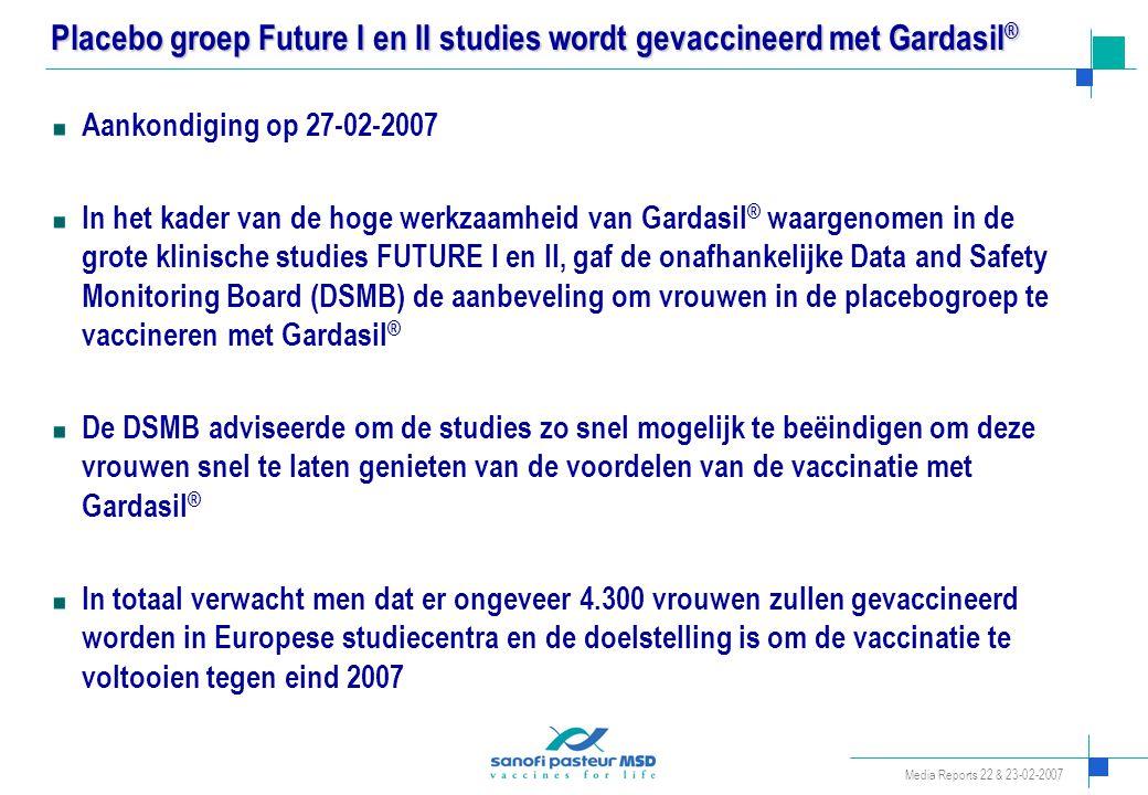 Placebo groep Future I en II studies wordt gevaccineerd met Gardasil®