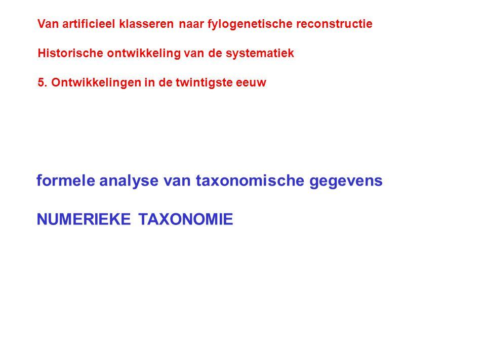 formele analyse van taxonomische gegevens NUMERIEKE TAXONOMIE