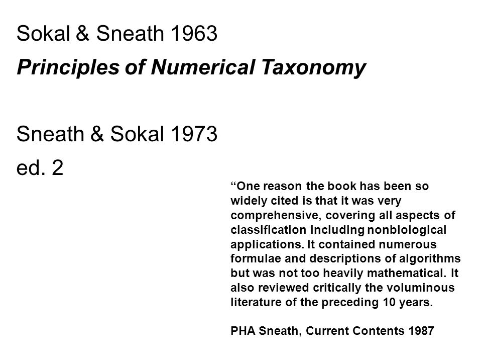 Principles of Numerical Taxonomy