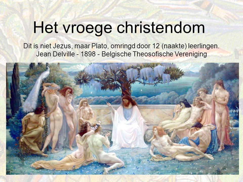 Dit is niet Jezus, maar Plato, omringd door 12 (naakte) leerlingen.