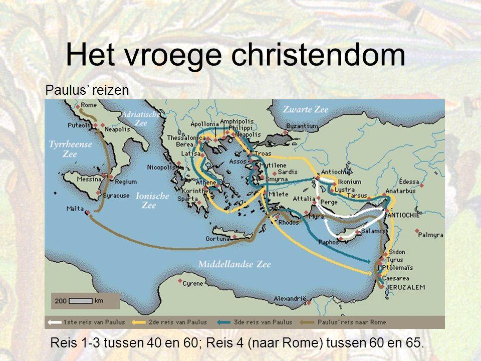 Paulus' reizen Reis 1-3 tussen 40 en 60; Reis 4 (naar Rome) tussen 60 en 65.