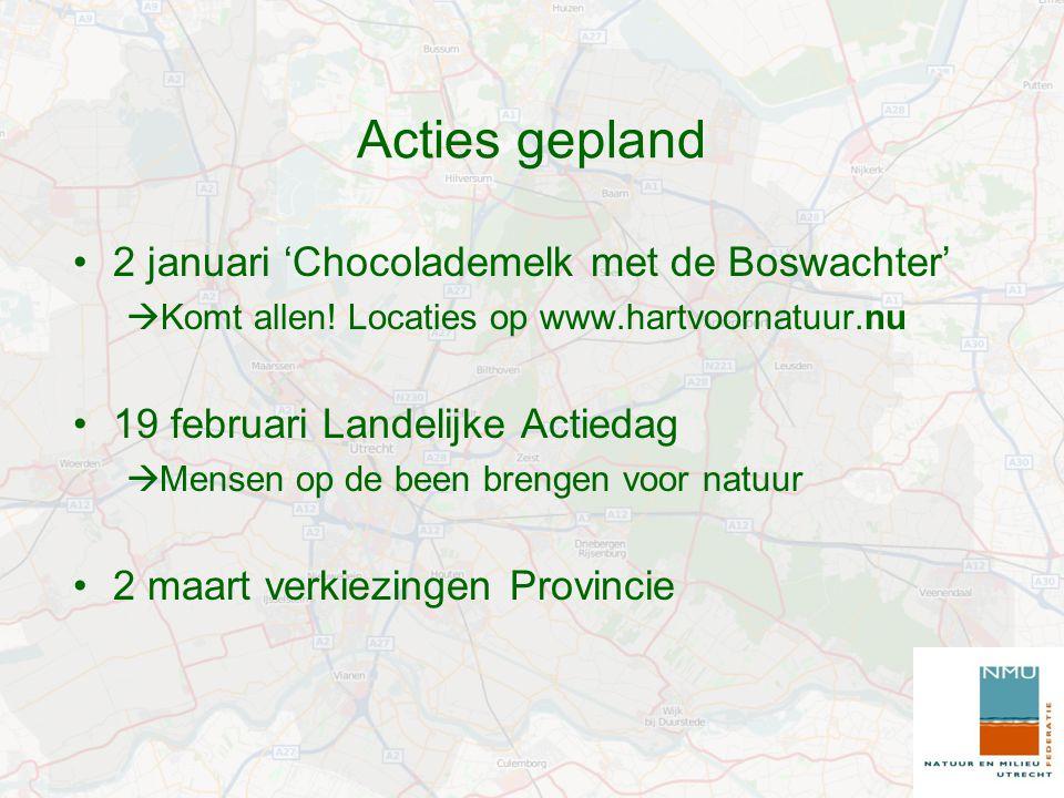 Acties gepland 2 januari 'Chocolademelk met de Boswachter'