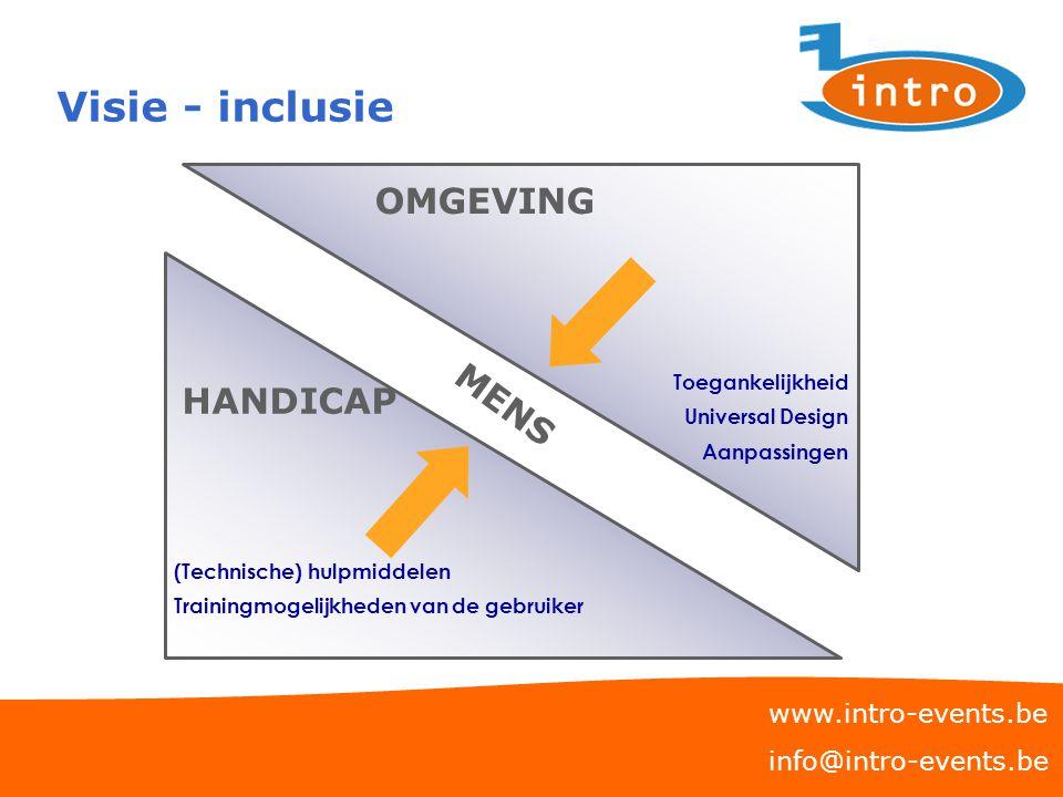 Visie - inclusie OMGEVING MENS HANDICAP www.intro-events.be