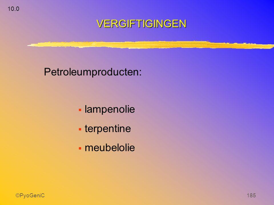 VERGIFTIGINGEN Petroleumproducten: lampenolie terpentine meubelolie