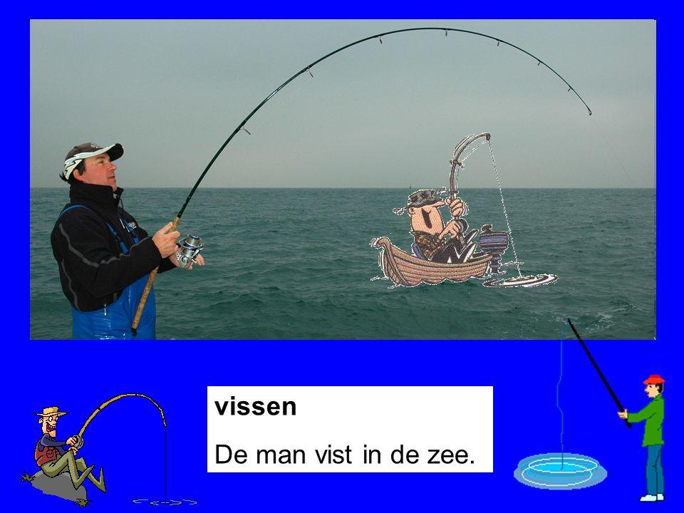 vissen De man vist in de zee.