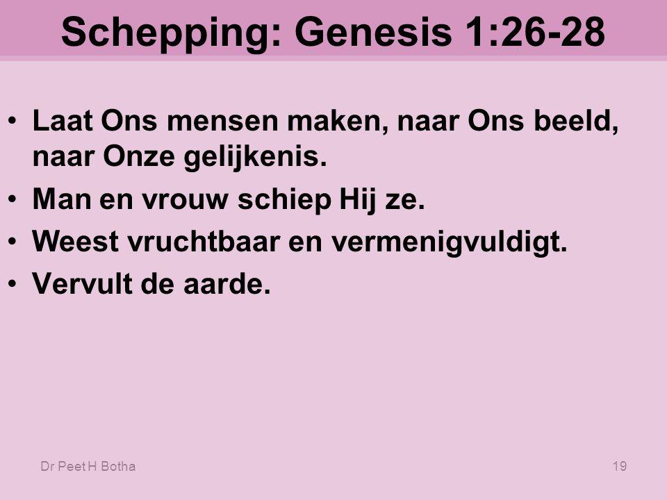 Schepping: Genesis 1:26-28 Laat Ons mensen maken, naar Ons beeld, naar Onze gelijkenis. Man en vrouw schiep Hij ze.