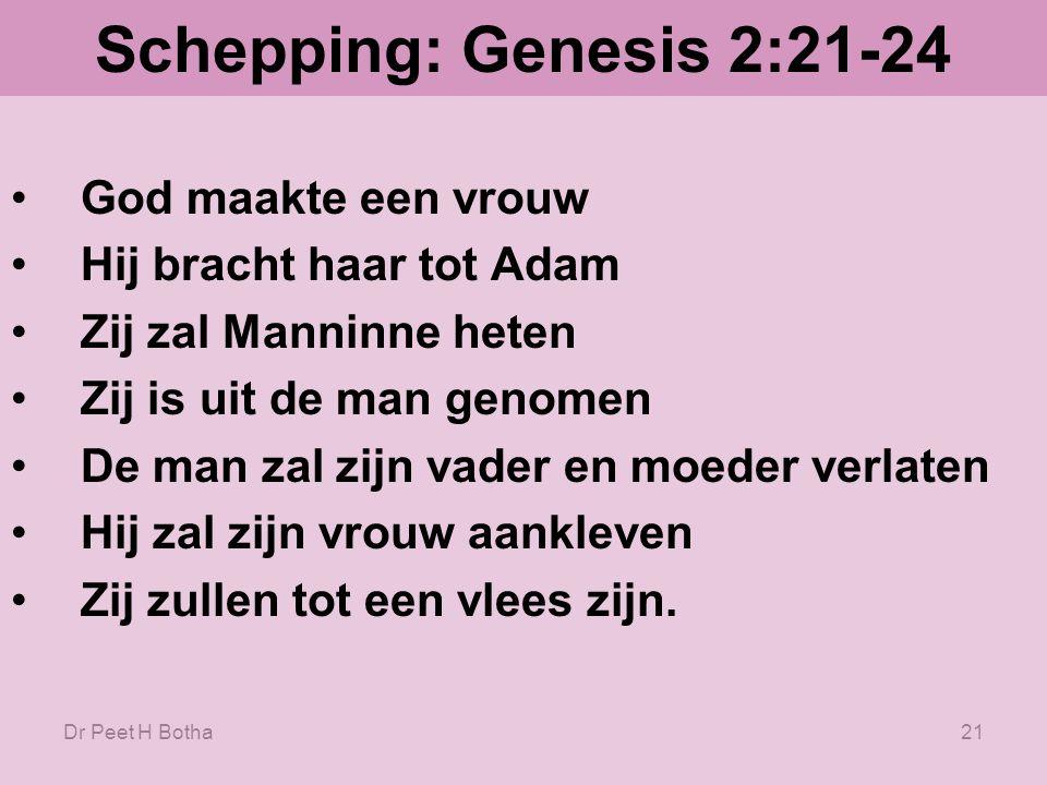 Schepping: Genesis 2:21-24 God maakte een vrouw