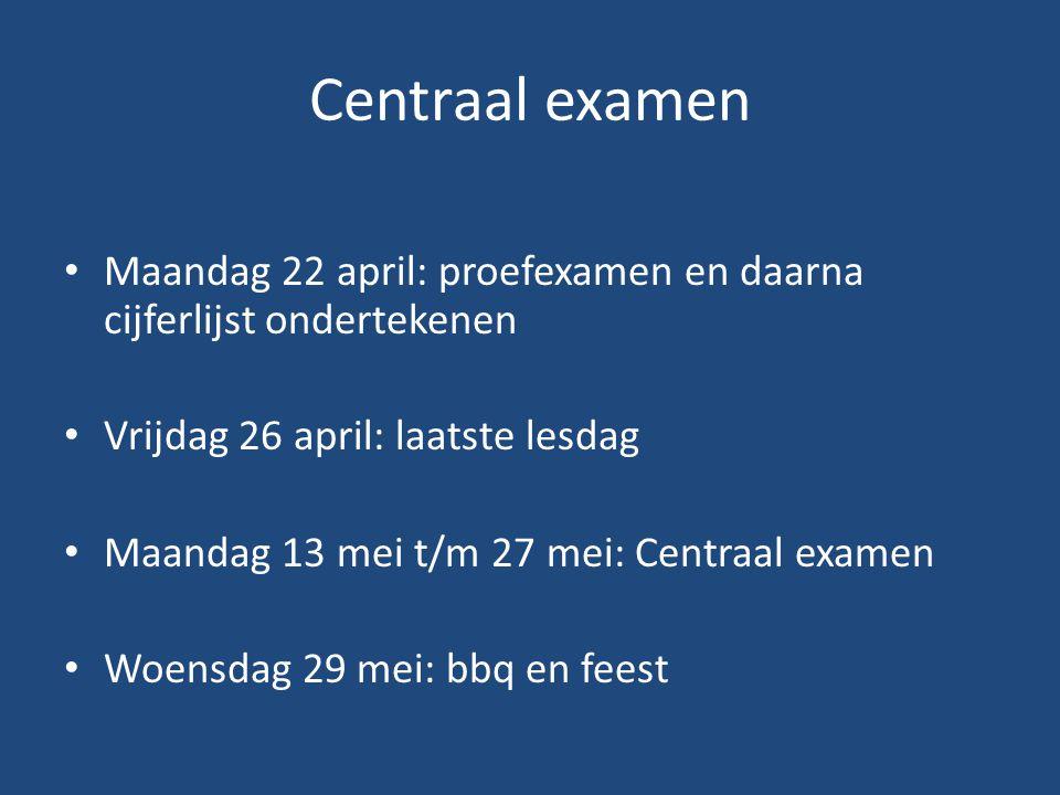 Centraal examen Maandag 22 april: proefexamen en daarna cijferlijst ondertekenen. Vrijdag 26 april: laatste lesdag.