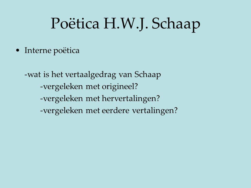 Poëtica H.W.J. Schaap Interne poëtica