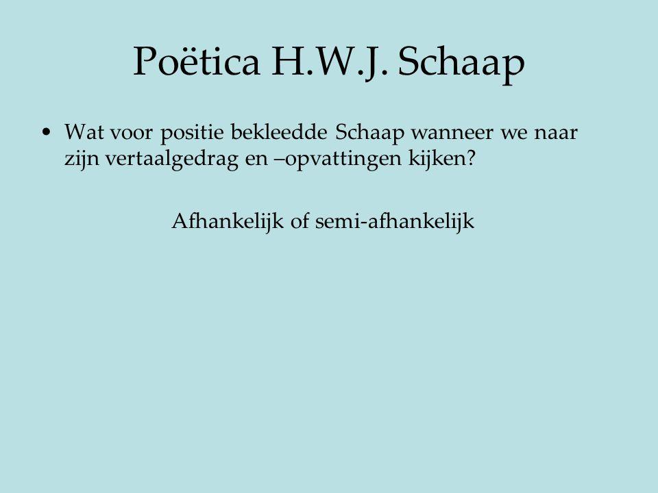 Poëtica H.W.J. Schaap Wat voor positie bekleedde Schaap wanneer we naar zijn vertaalgedrag en –opvattingen kijken