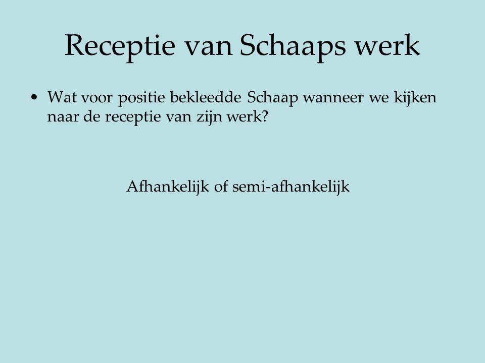Receptie van Schaaps werk